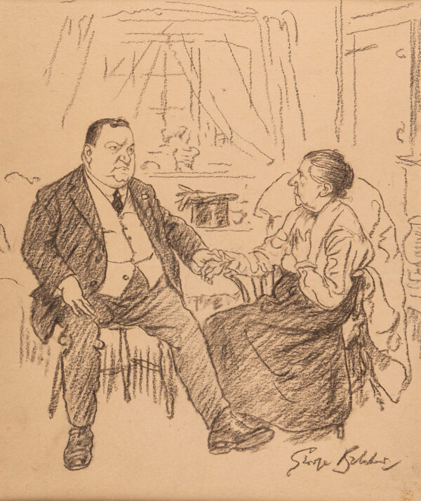 """BELCHER George R.A. (1875-1947) - Patient: """"Me heart palpitates so Doctor""""."""