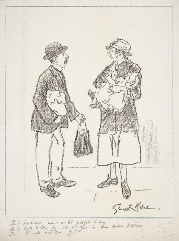 BELCHER George R.A. (1875-1947) - She: 'Archibald seems a bit fretful today'.