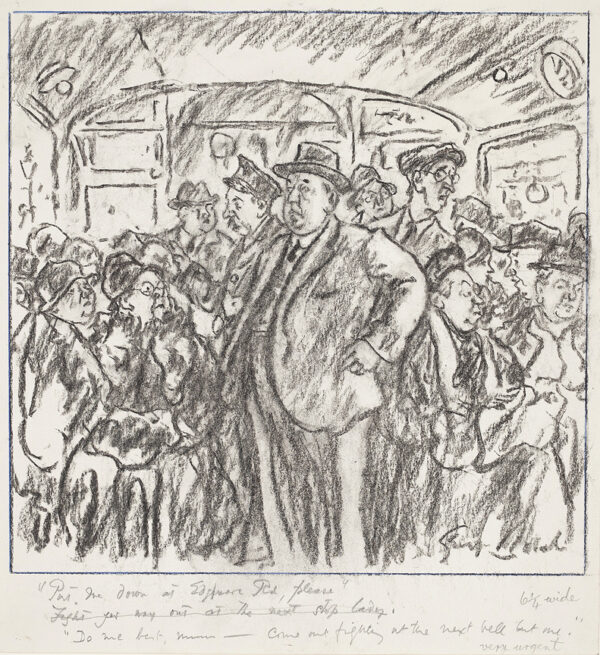 BELCHER George R.A. (1875-1947) - 'Put me down at Edgeware Road please' 'Do me best Mum – come out fighting at the next bell but one…' Chalk for 'Punch'.