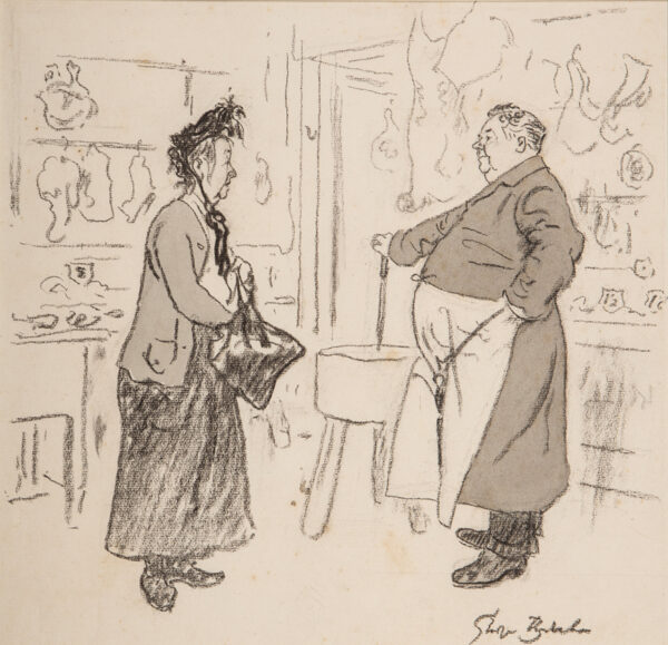 "BELCHER George R.A. (1875-1947) - Butcher ""Has you husband got any work, Mrs Green?"" Customer ""No, 'e 'aint doing nothin'."