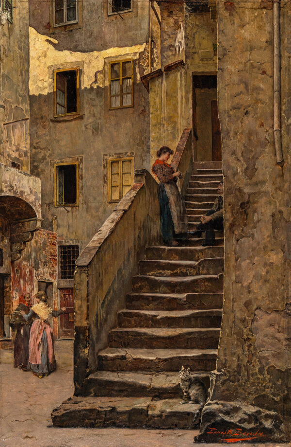 BENSA Ernesto (fl.1866-1897) - A courtyard, Florence.