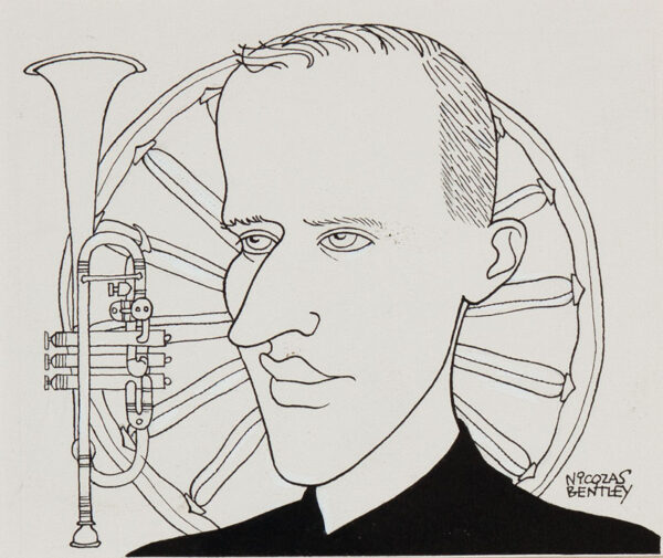 BENTLEY Nicolas (1907-1978) - 'Boris Vian (1920-1959) Pen and ink for the Sunday Times.