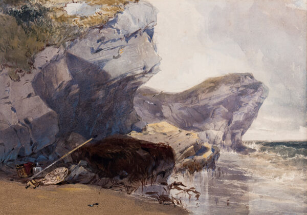 BEVERL(E)Y William Roxy (1811-1889) - 'Rocks at Filey', Yorkshire.