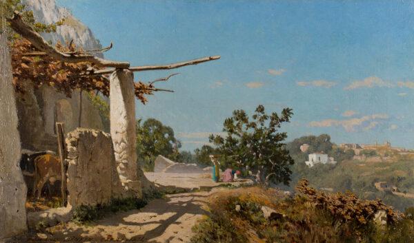 BINYON Edward (c.1830-1876) - 'Una Aja (sic) a Capri'.