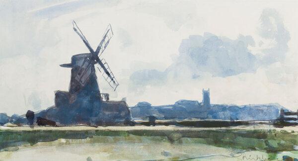 BIRKBECK Geoffrey (1875-1954) - Norfolk: Cley Mill and Blakeney Church.