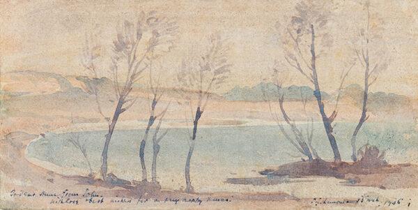 BIRCH Samuel John 'Lamorna' R.A. R.W.S. (1869-1955) - Trees and Bay.