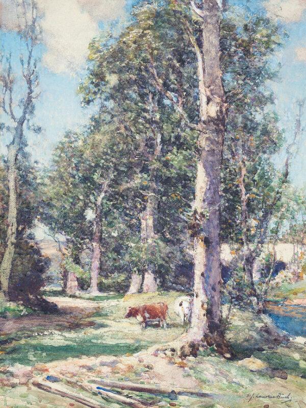 BIRCH Samuel John 'Lamorna' R.A. R.W.S. (1869-1955) - Light and Shade, Cornwall.