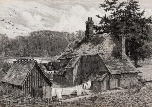 BISCOMBE GARDNER William (1847-1919) - Half-timbered cottage next a Mere.