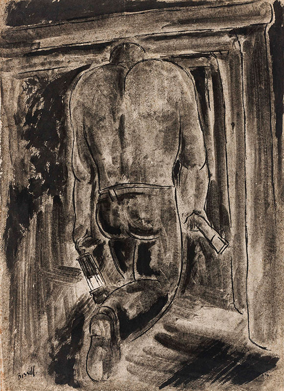 BISSILL George (1896-1973) - Miner with his Davey Lamp.