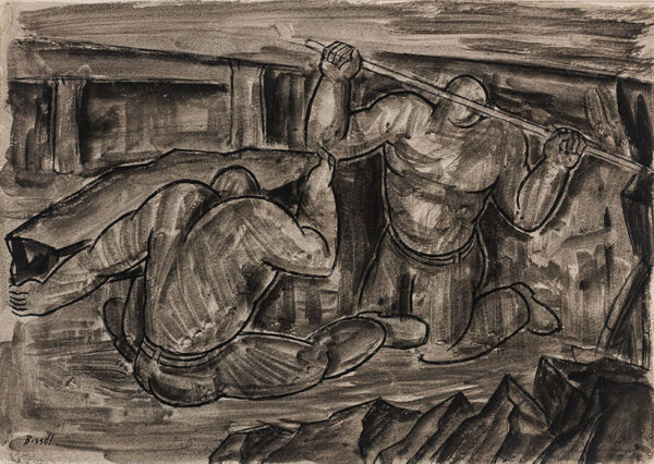 BISSILL George (1896-1973) - Miners 'wringing' coal.