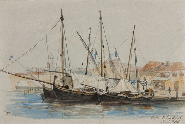 BLAND Lieutenant John Francis R.N. (Mid-19th Century) - 'Corfu, Fishing Boats' Ink and watercolour.