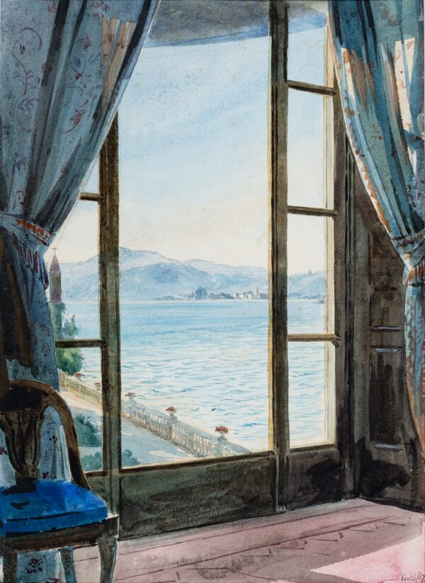 BLUNT Lady Anne ('Annabella') (1837-1919) - Window onto an (?)Italian lake.