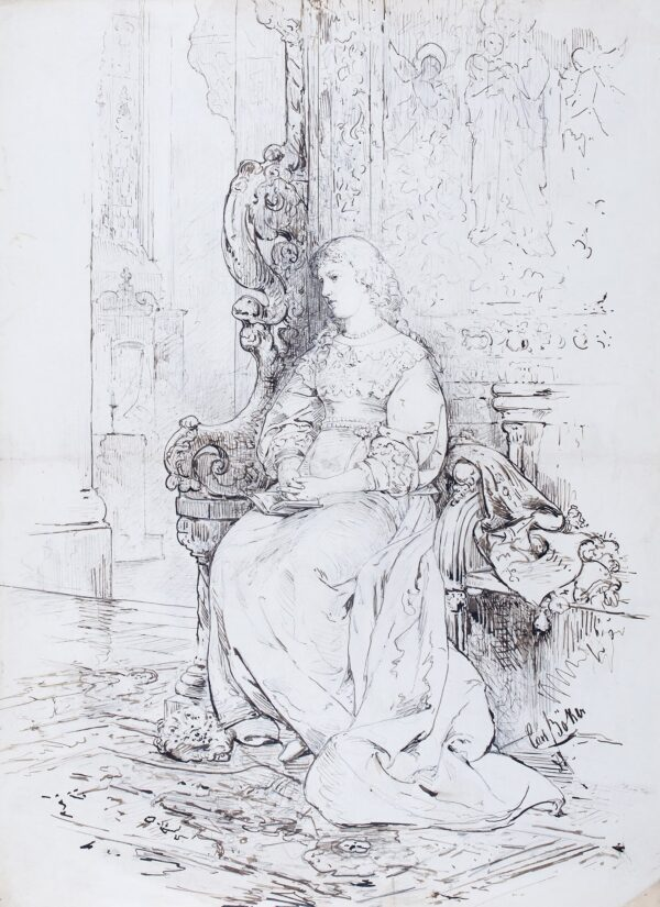 BOKER Carl (1836-1905) - Study for a 17th Century subject picture.