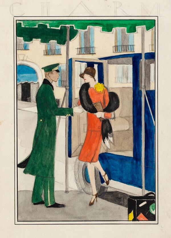 BOLL Celine (Mrs George Aumand Ashley) (fl.1920-1940) - 'Charm / sketch for November cover'.