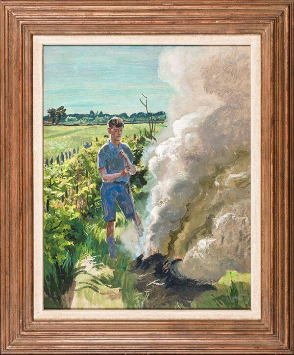 BONE Stephen N.E.A.C. (1904-1958) - 'Quentin Bone at a bonfire'.