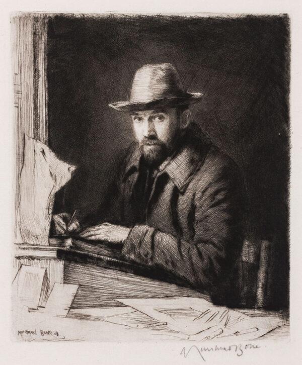 BONE Sir Muirhead N.E.A.C. (1876-1953) - 'Portrait of the artist in a hat, No.