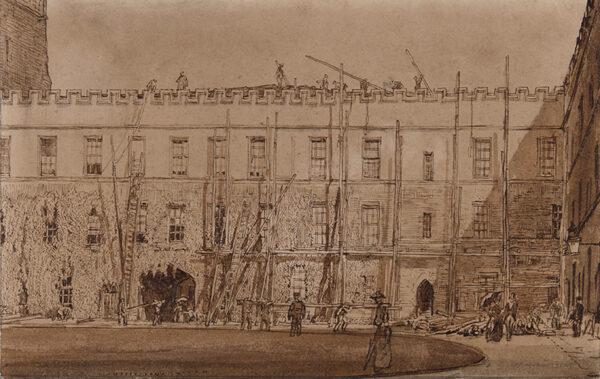 BONE Sir Muirhead N.E.A.C. (1876-1963) - New College Quad, Oxford under repair.