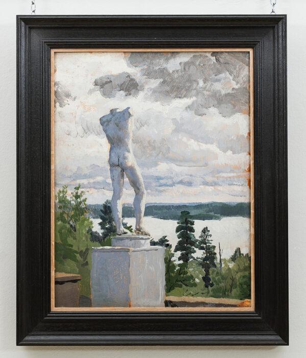 BONE Stephen N.E.A.C. (1904-1958) - Statue on a Lake, possibly Sweden.