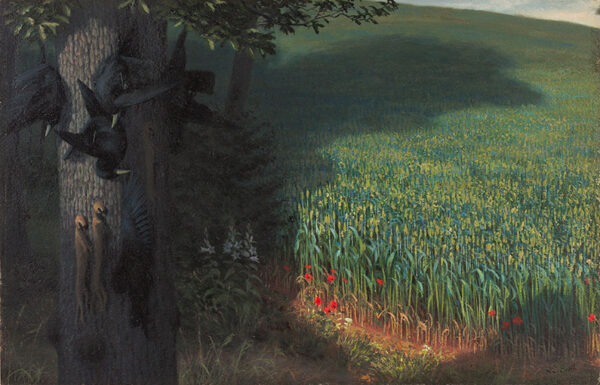 BOOTH Raymond (1929-2015) - Young wheat, and gamekeepers gibbet.
