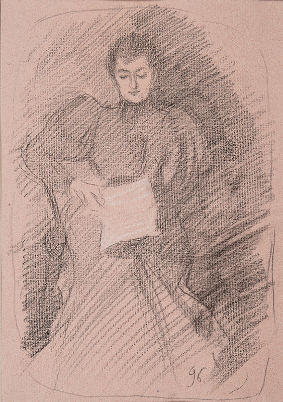 BOURGEOIS-BORGEX Louis (1873-1959) - Reading by lamplight.