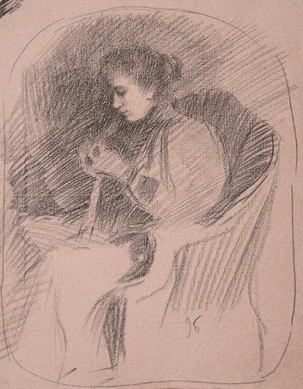 BOURGEOIS-BORGEX Louis (1873-1959) - Seated, by lamplight.