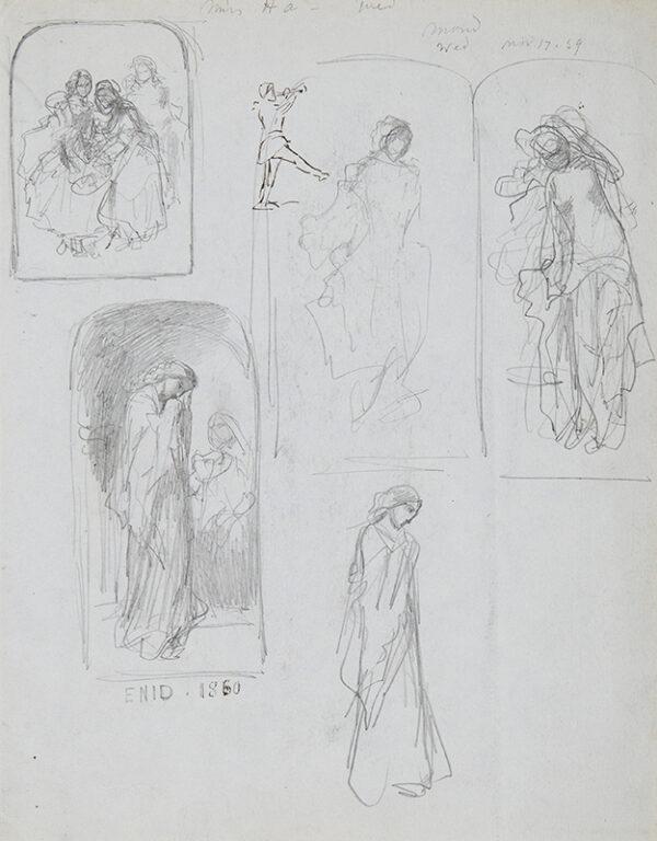 BOUVIER Augustus (1827-1881) - Studies of girls.