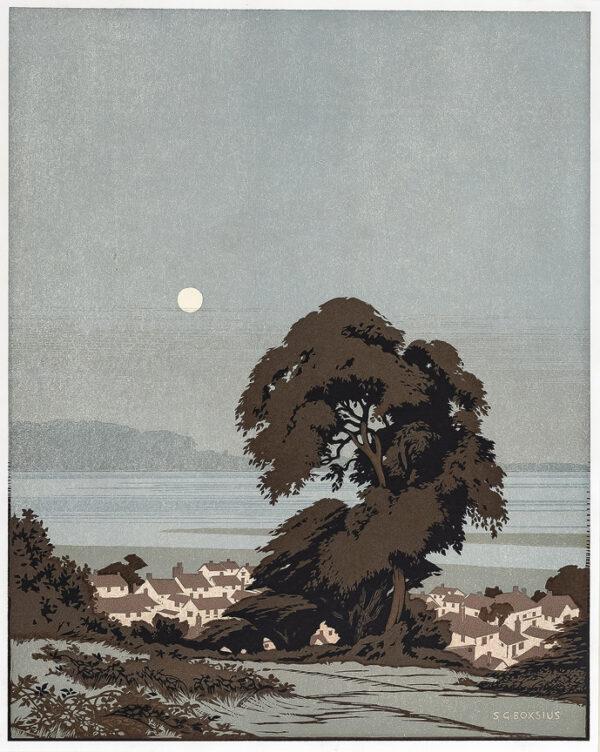 BOXIUS Sylvian G (1878-1941) - Moonlit seaside town.