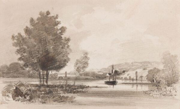 BOYS Thomas Shotter (1803-1874) - River sketch.
