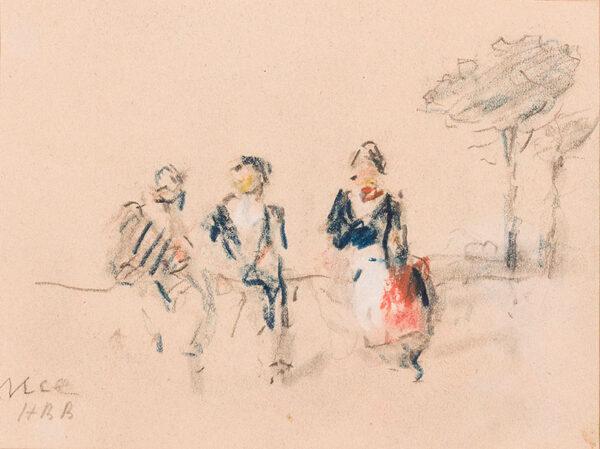 BRABAZON Hercules Brabazon N.E.A.C. (1821-1906) - Sketch of three figures.