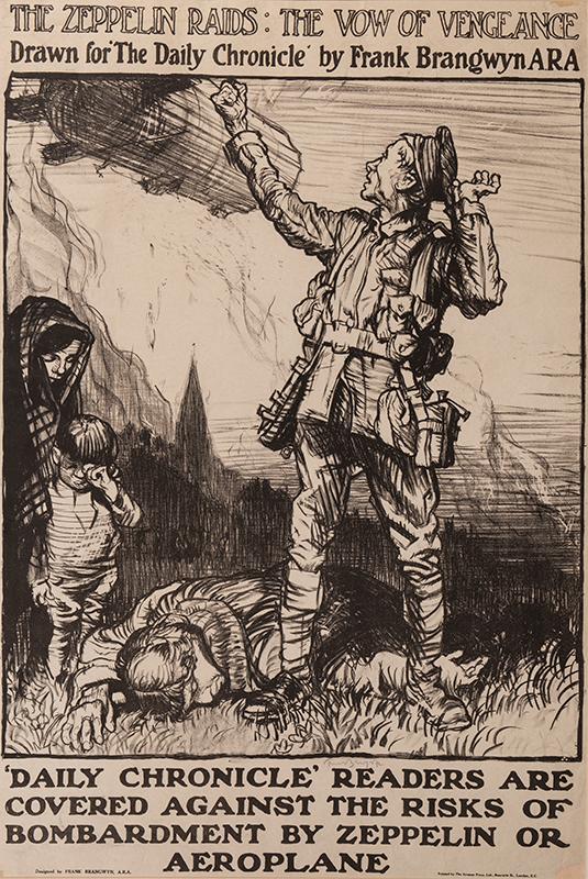 BRANGWYN Sir Frank R.A. R.E. R.W.S. (1867-1956) - 'The Daily Zeppelin Raids; The Vow of Vengeance' (W.