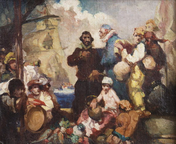 BRANGWYN Sir Frank R.A. R.E. R.W.S. (1867-1956) - Presentation sketch for 'The Departure of Sir James Lancaster for the East Indies'.