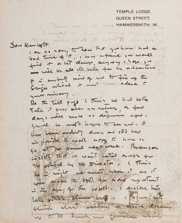 BRANGWYN Sir Frank R.A. R.E. R.W.S. (1867-1956) - An illustrated letter to Frank Newbolt.
