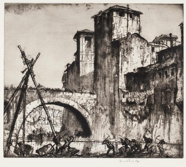 BRANGWYN Sir Frank R.A. R.E. R.W.S. (1867-1956) - 'Old Bridge, Rome' (WG.