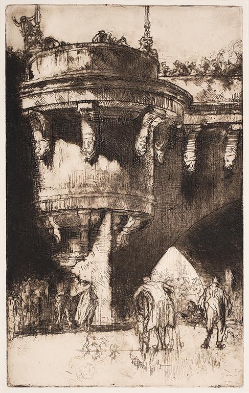 BRANGWYN Sir Frank R.A. R.E. R.W.S. (1867-1956) - 'Buttress of the Pont Neuf, Paris (small) (WG.