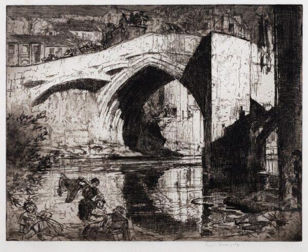 BRANGWYN Sir Frank R.A. R.E. R.W.S. (1867-1956) - 'Bridge , Barnard Castle' (WG.