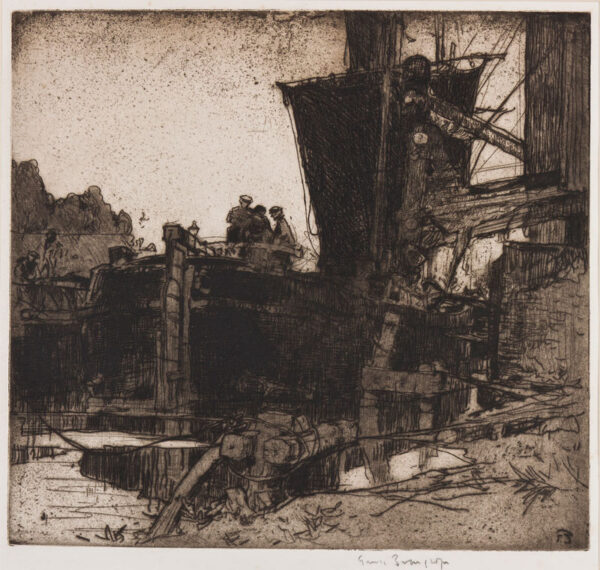 BRANGWYN Sir Frank R.A. R.E. R.W.S. (1867-1956) - The Barge.