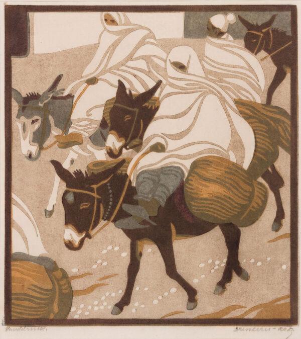 BRESSLERN-ROTH Norbertine (1891-1978) - 'Donkey Riders Linocut.