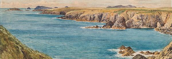 BRETT John A.R.A. (1831-1902) - 'Coast - St Bride's Bay, Ramsey Island, The Bishop / (?Nuns) Well'.