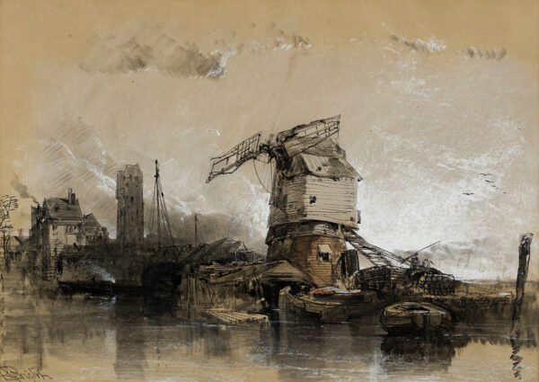BRIGHT Henry (1810-1873) - A ramshackle quay and windmill.