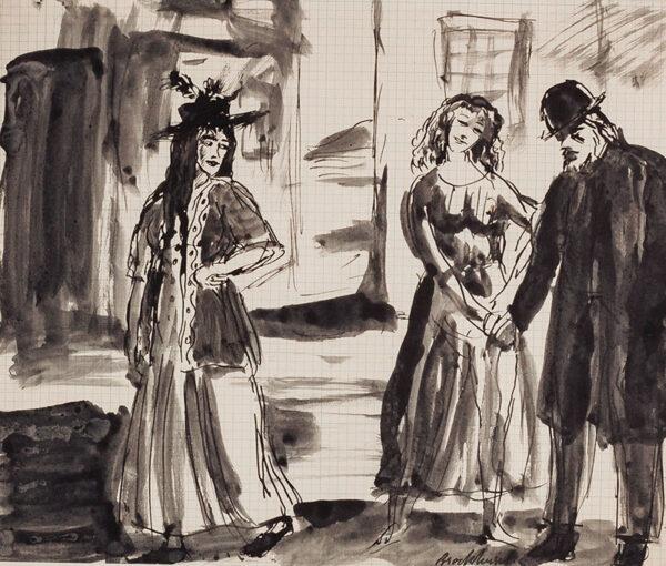 BROCKHURST Gerald Leslie R.A. (1890-1978) - Late night street scene, Ireland.