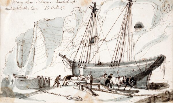 BROOKE William Henry (1772-1860) - Hastings: 'Mary Ann, Schooner hauled up /under Butler's Cave' Pen, brush and ink.