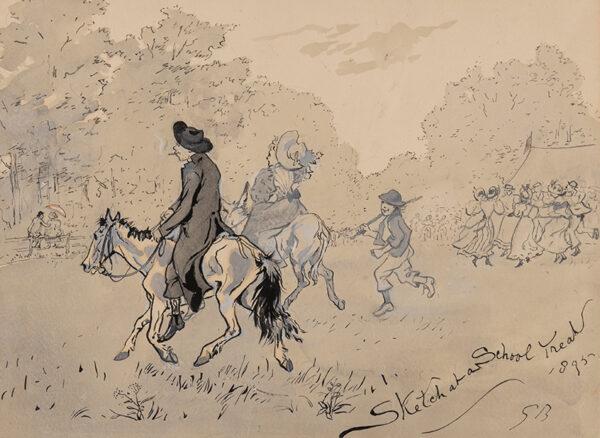 BROWNE Gordon R.I. (1858-1932) - 'Sketch at a School Treat'.
