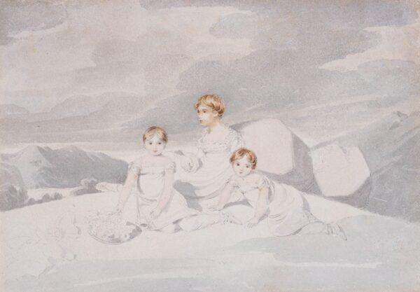 BUCK Adam (1759-1833) - Three small girls in a wild landscape.