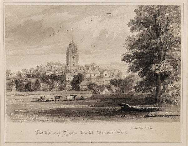 BUCKLER John Chessell (1793-1894) - 'North West View of Shepton Mallet, Somersetshire'.