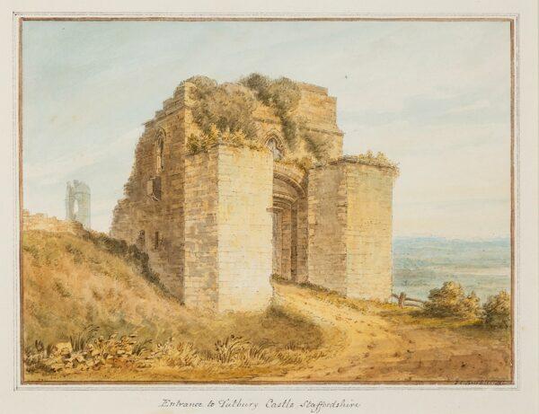 BUCKLER John Chessell (1793-1894) - 'Entrance to Tutbury Castle, Staffordshire'.