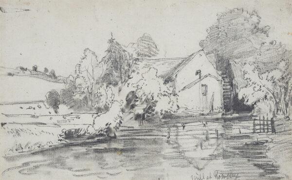 BURGESS John Jnr A.O.W.S. (1814-1874) - 'Mill at Rowsley', Derbyshire.