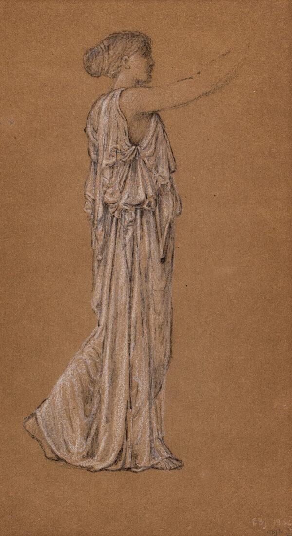 BURNE-JONES Sir Edward Coley A.R.A. (1833-1898) - Study of a standing, draped figure.