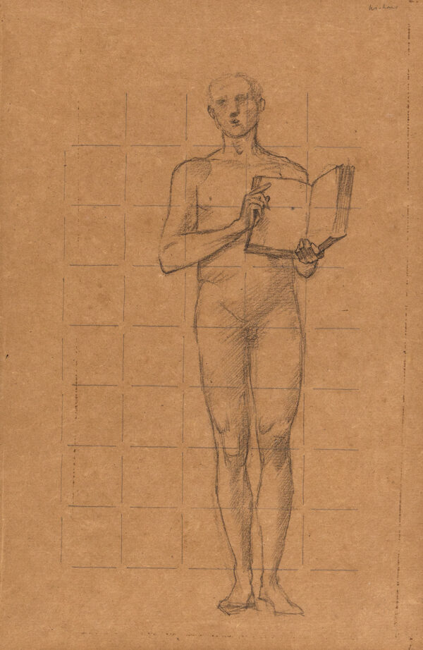 BURNE-JONES Sir Edward Coley A.R.A. (1833-1898) - Study for a Saint, possibly for stained glass.