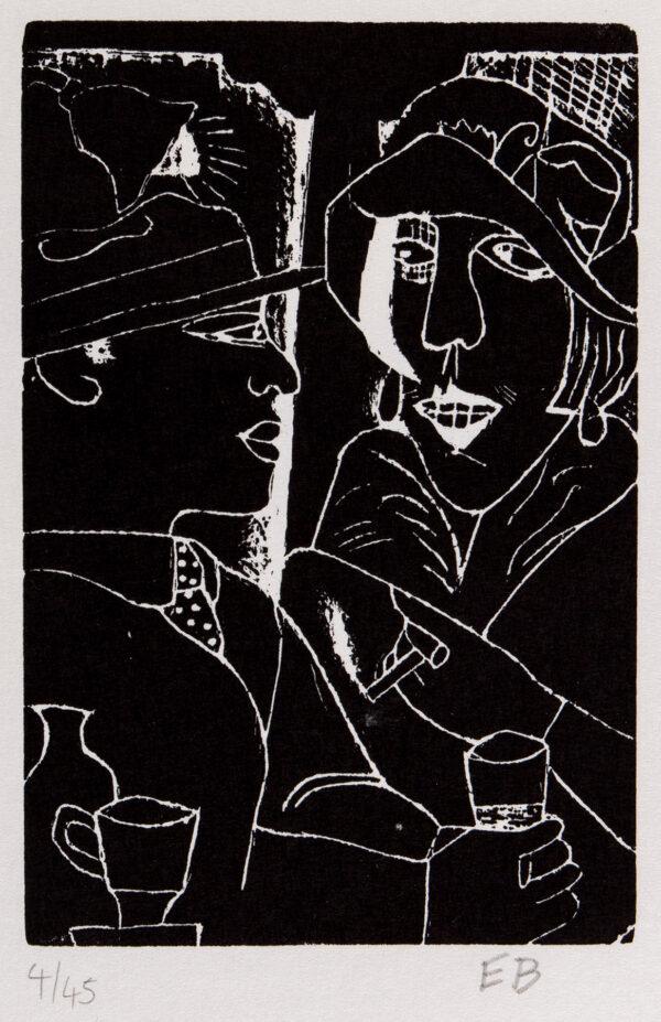 BURRA Edward (1905-1976) - 'Two at a Bar' Woodcut.