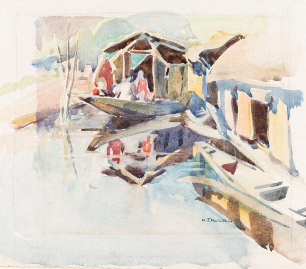 BURTON Nancy Jane R.S.W (1891-1972) - Waterway near Rawalpindi.